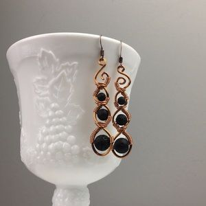 Copper wire wrapped lava stone dangle earrings